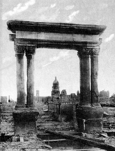 The pillars after the earthquake.