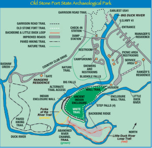 Old Stone Fort Map courtesy of discoverhistorictravel.com