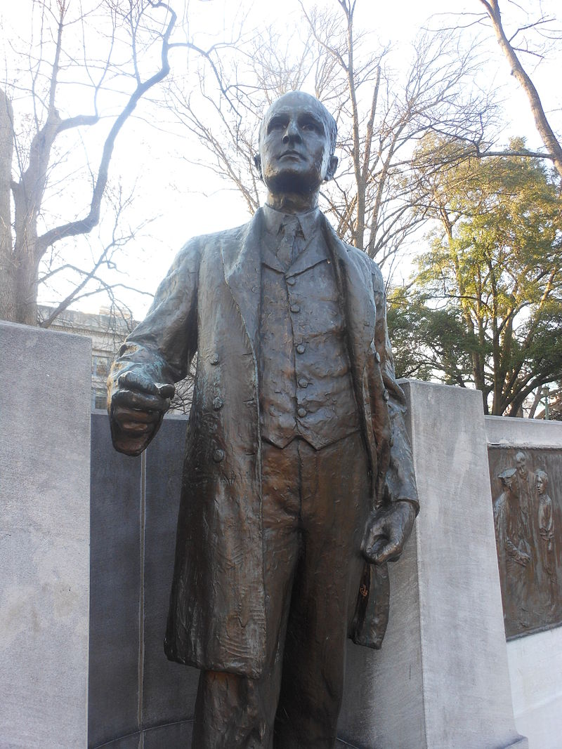 Statue of Aycock at the North Carolina State Capitol. Numerous educational buildings were named after Aycock- a decision that is being reconsidered throughout the state.
