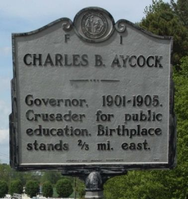 This marker, which says nothing about Aycock's support of white supremacy, was dedicated in 1957 and reflects the interpretation of many historians at that time. It is located on the corner of Highway 117 and Aycock road.