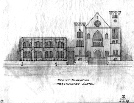 The preliminary sketch for the church- courtesy of Marshall University Special Collections.