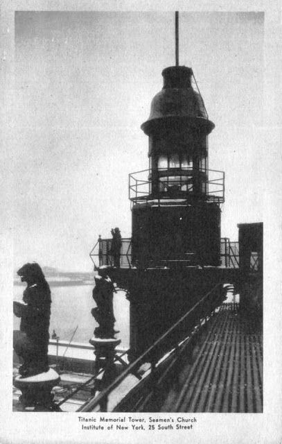 The memorial lighthouse as seen from the roof -- postcard from author's collection