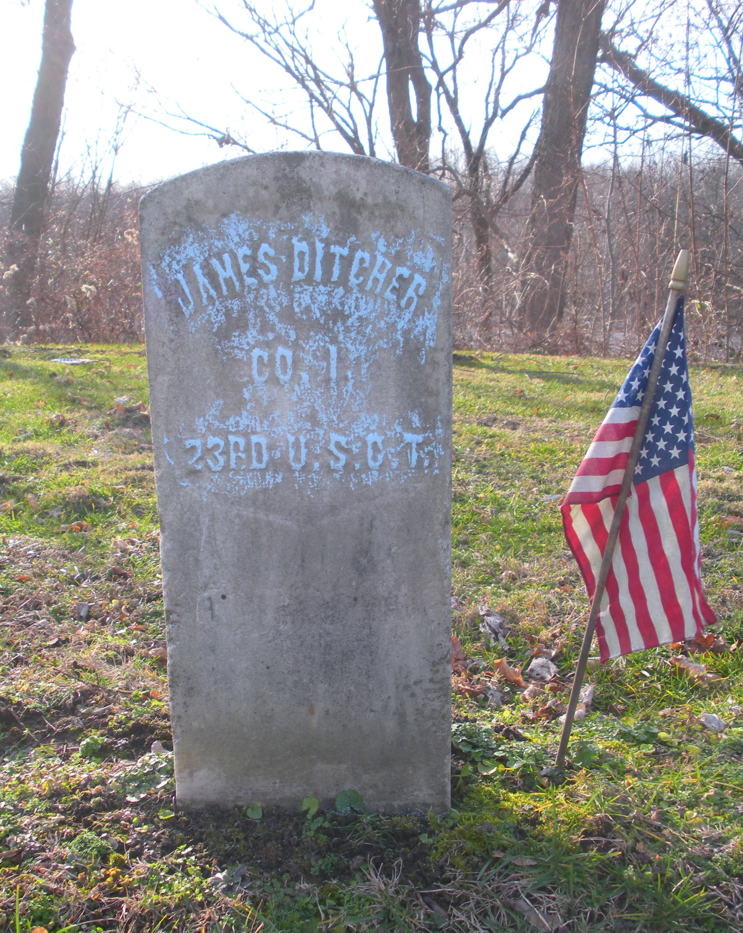 Tombstone of Jim Ditcher in Woodland Cemetery, Ironton
