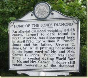 Historical marker in Peterstown, WV, where the diamond was found.