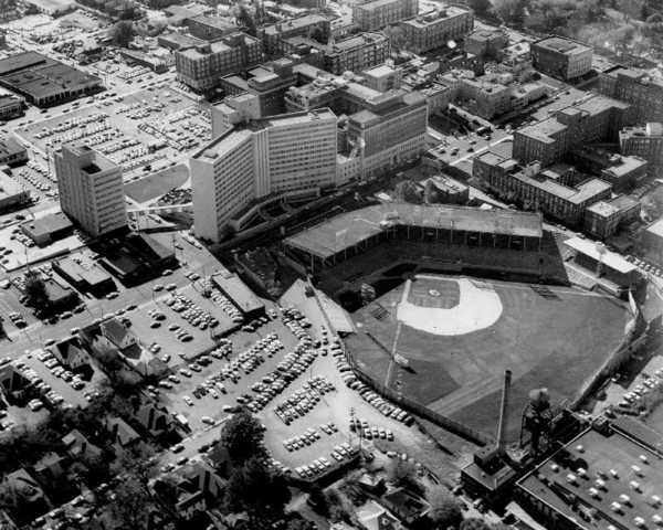 An aerial view of the former ballpark