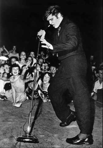 Elvis performing at the park