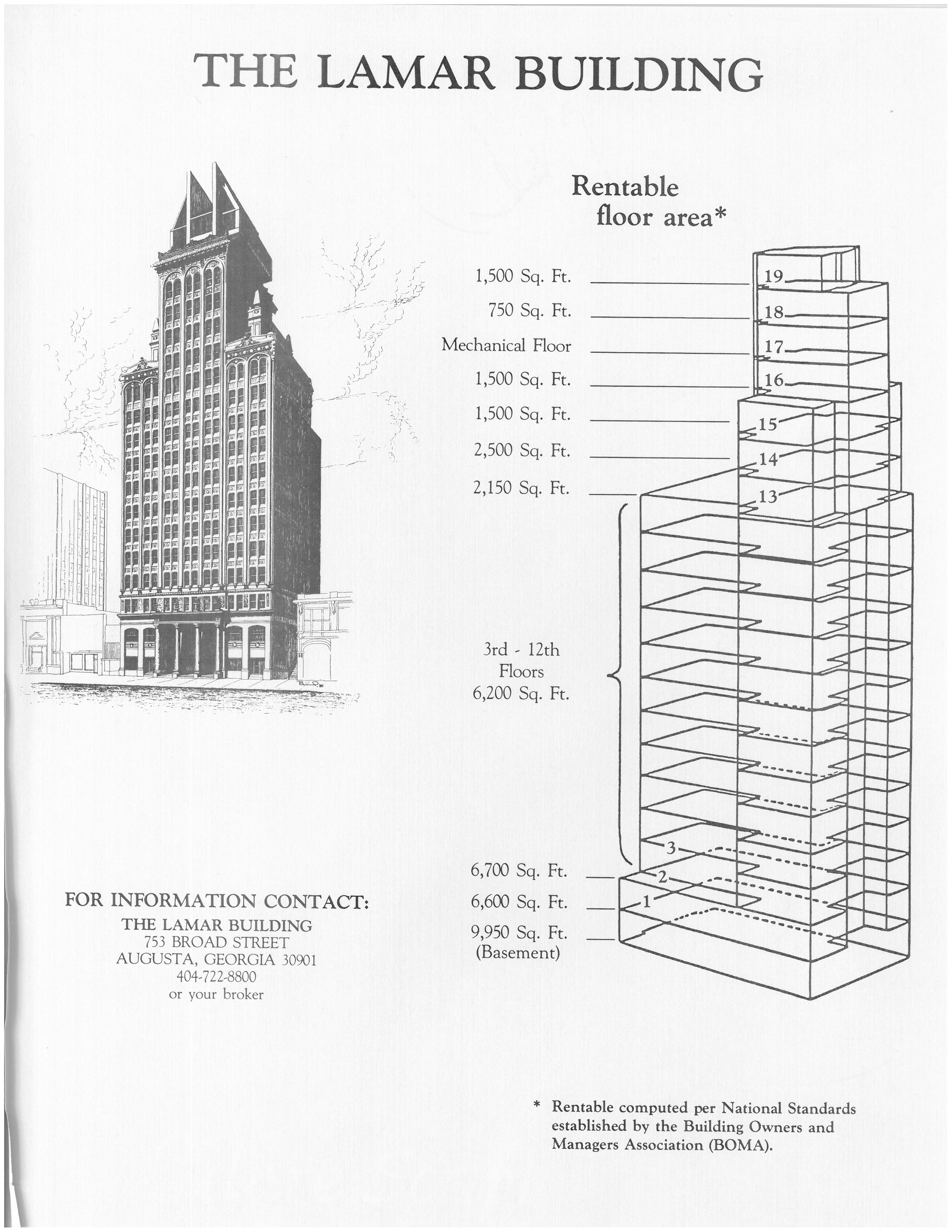 Axonometric view of Lamar Building and denoted levels