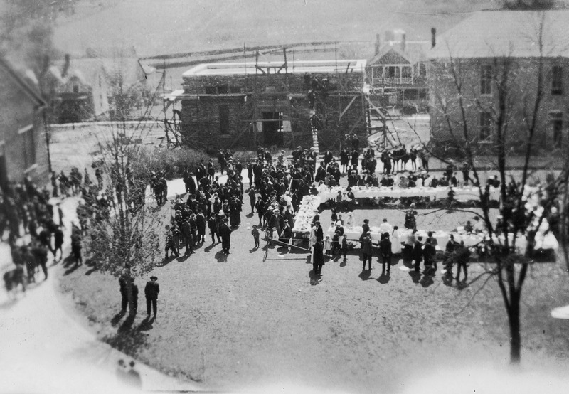 A campus gathering during the construction of Montague Hall, originally designed as the campus library, Montague now is home to the Rural Heritage Museum.