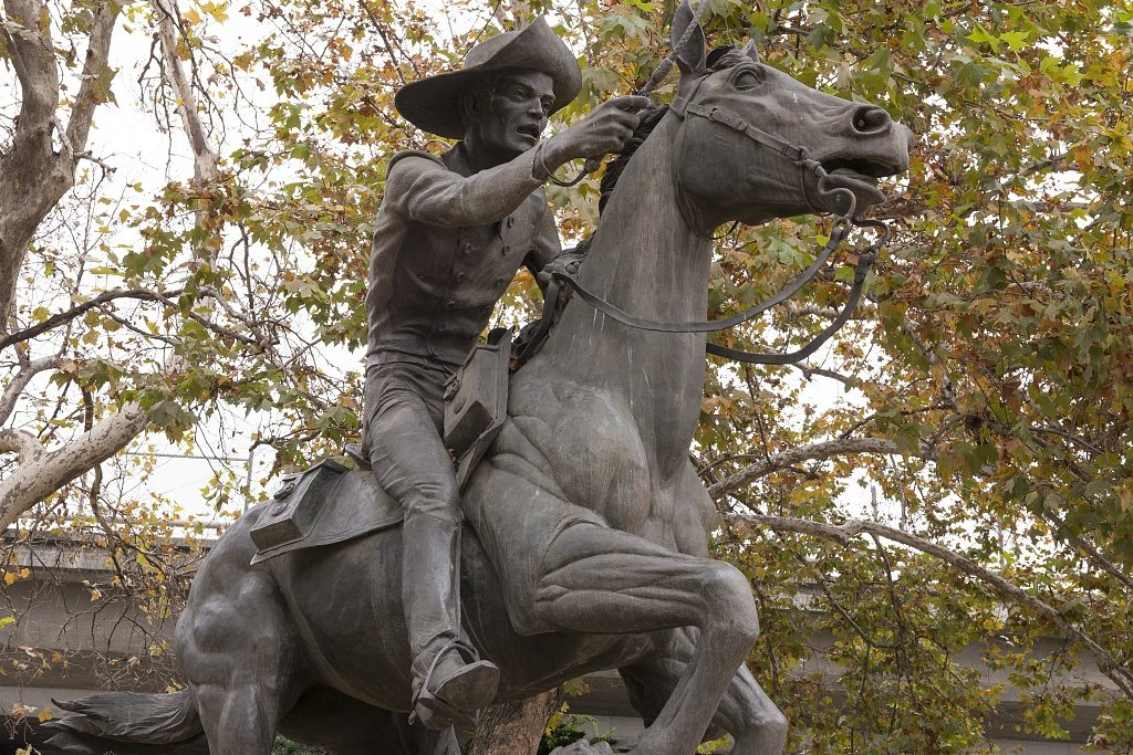 A closer look at the statue. Sculptor Thomas Holland used his 11-year old nephew as a basis for the young rider. Horse and rider comprise 8.5ft of the statue's total 15ft height. (Library of Congress)