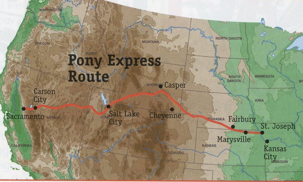 An overview of the Pony Express's route from Missouri to California. News came by train or telegraph to St. Joseph, MO from the east coast. Once riders arrived in Sacramento, a ferry carried mail to San Francisco.