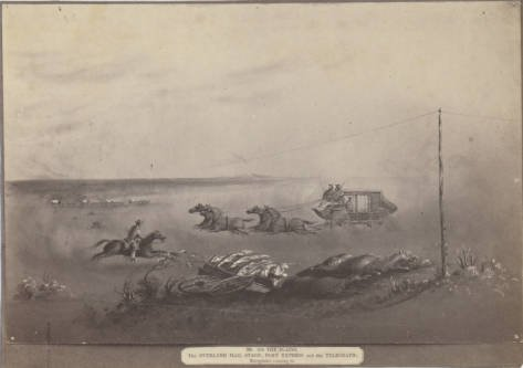 A drawing by Edward Vischer depicts all three forms of overland communication in the 1860s. Vischer is one of the best primary sources of visual materials from the era (Claremont Colleges).