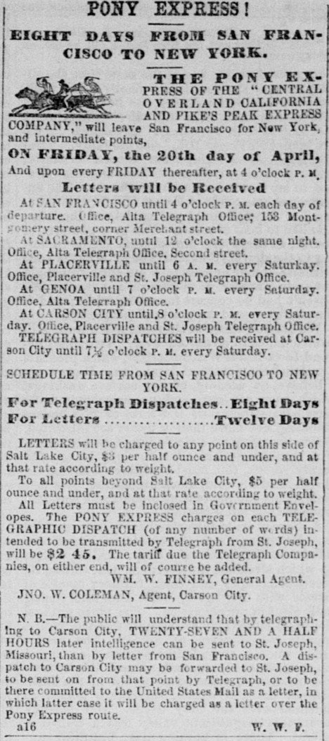 Advert in the Sacramento Daily Union from April 16, 1860, only a few days after the first Pony Express rider arrived in the city with great fanfare and celebration.