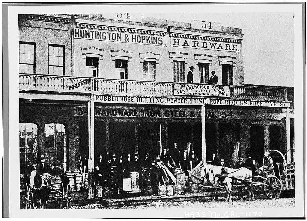 Part of the Big Four House during its Central Pacific heyday. Huntington first began importing East Coast goods to supply eager miners in 1849.