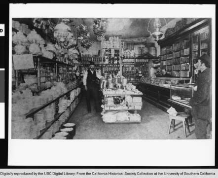 An interior view of Hungtington & Hopkins hardware store in 1900 (USC Libraries).