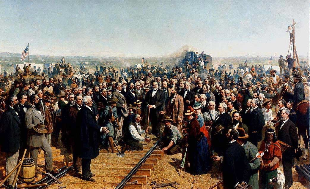 """The Last Spike."" An 1881 panting of the 1869 Golden Spike being driven to officially complete the Transcontinental Railroad. The painting notably omits any Chinese-Americans, who comprised most of the Central Pacific's labor force."