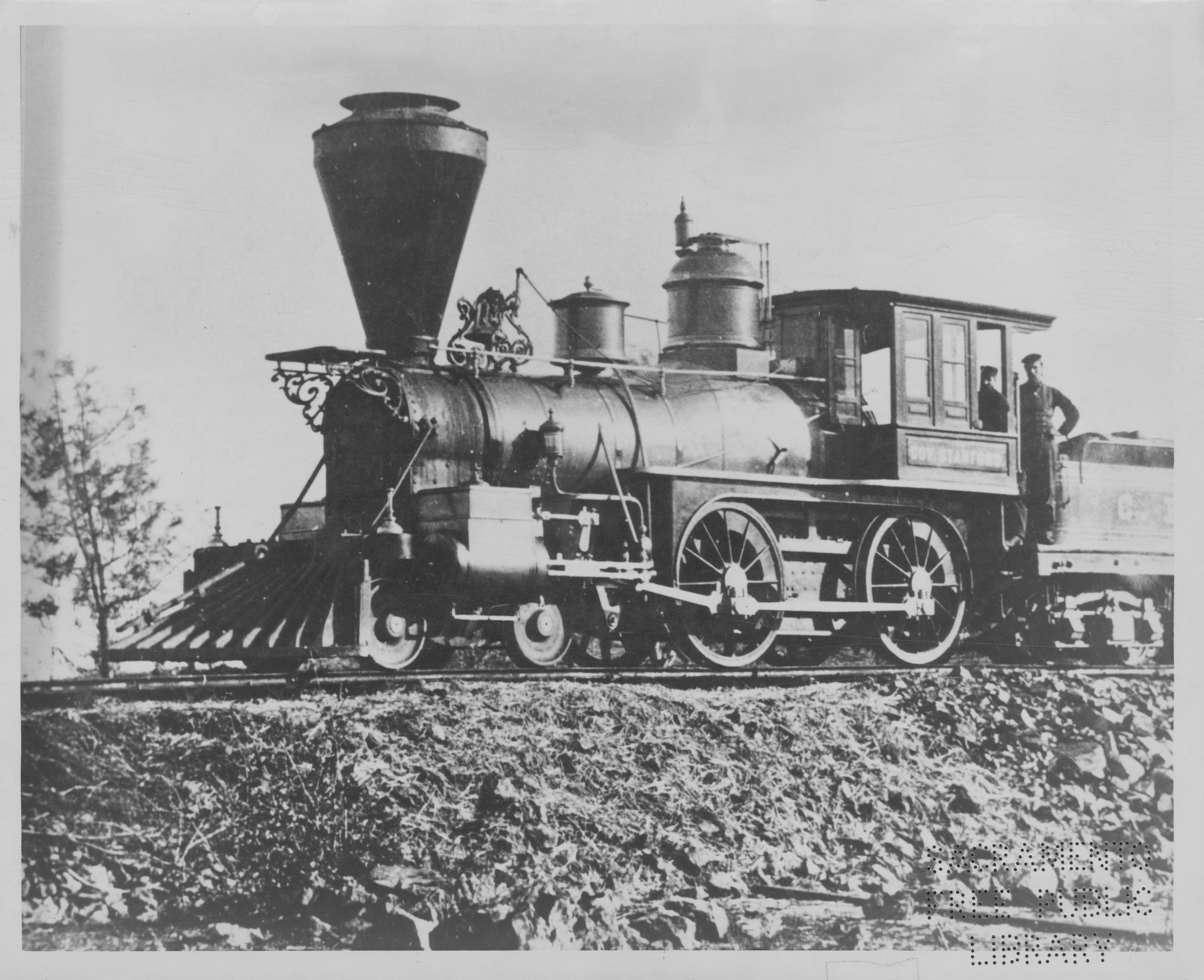"The ""Governor Stanford,"" Central Pacific's first locomotive--built while Leland Stanford was serving as governor from 1862-63 (California governors only served 2-year terms at the time). The locomotive resides in the nearby Railroad Museum."