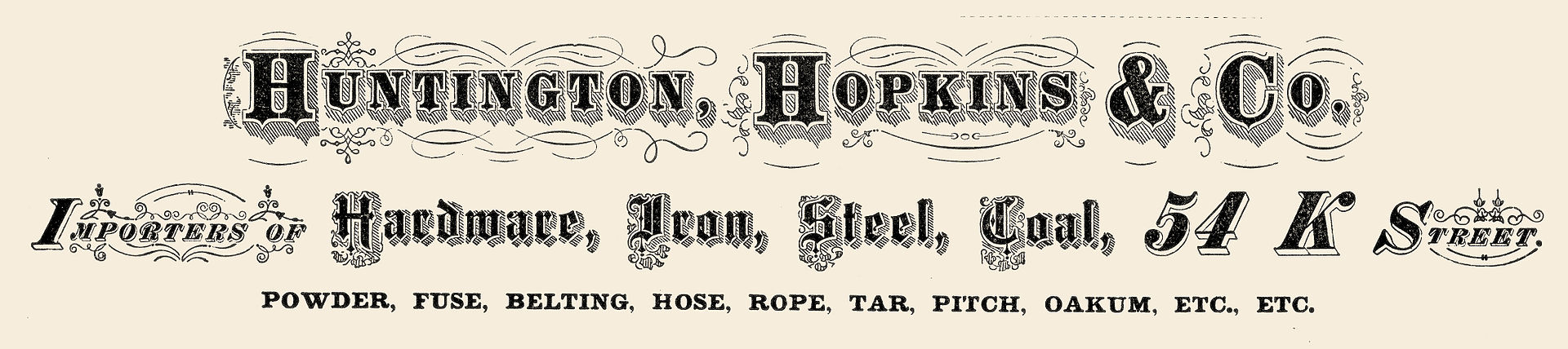 An 1874 advertisement for goods offered by the Huntington & Hopkins company.