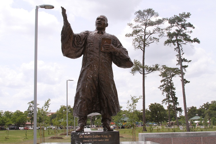The 8 foot-tall bronze statue of Dr. Martin Luther King, Jr., Houston, TX.