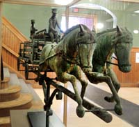 The Barre firehouse weathervane is on display in the lobby. It was created in 1904 and stop atop the city's historic firehouse.