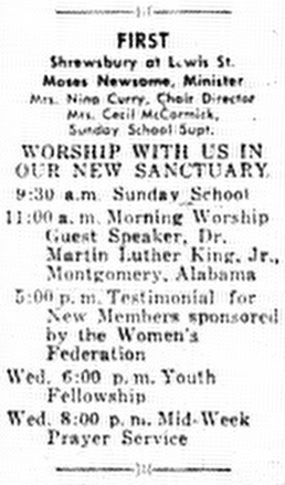 An invitation to First Baptist Church to listen to guest speaker Rev. Martin Luther King, Jr.