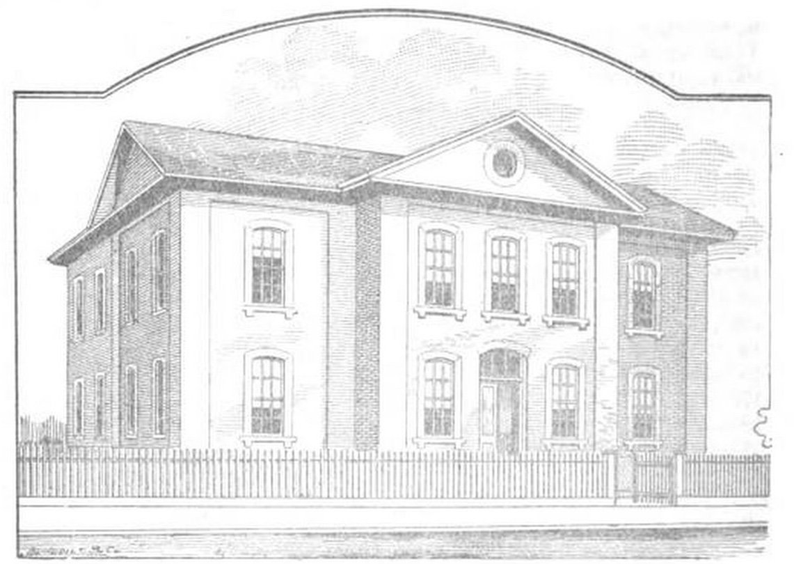 Depiction of the original Buffington School building on 7th Street and 4th Avenue