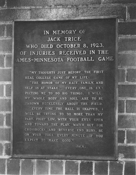 Monument erected by the student body in honor of Jack Trice