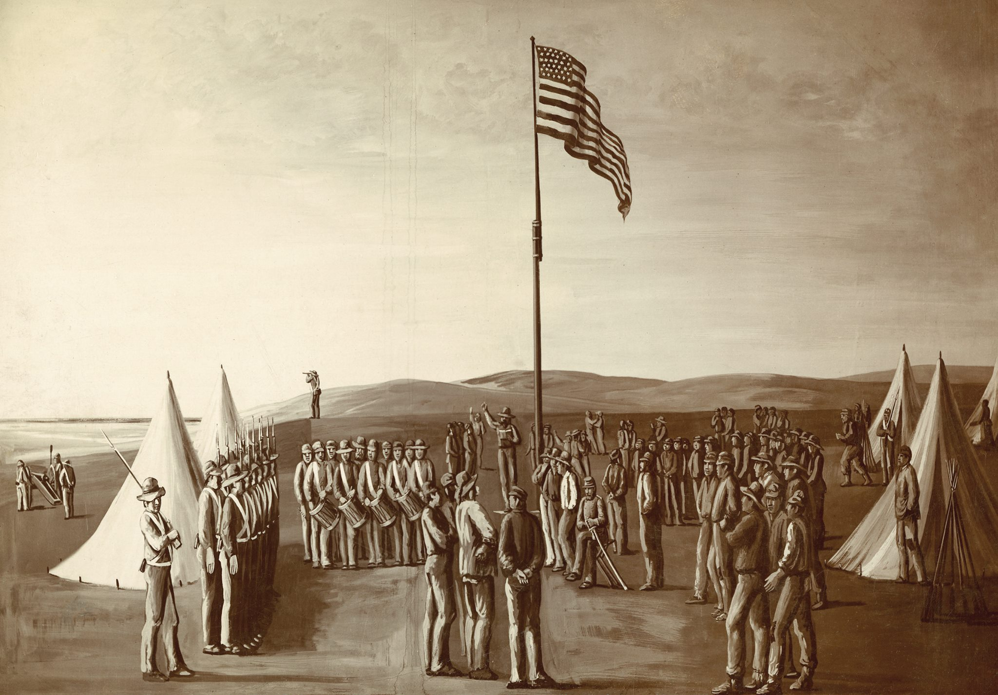 Period drawing of the Battalion raising the flag in San Diego