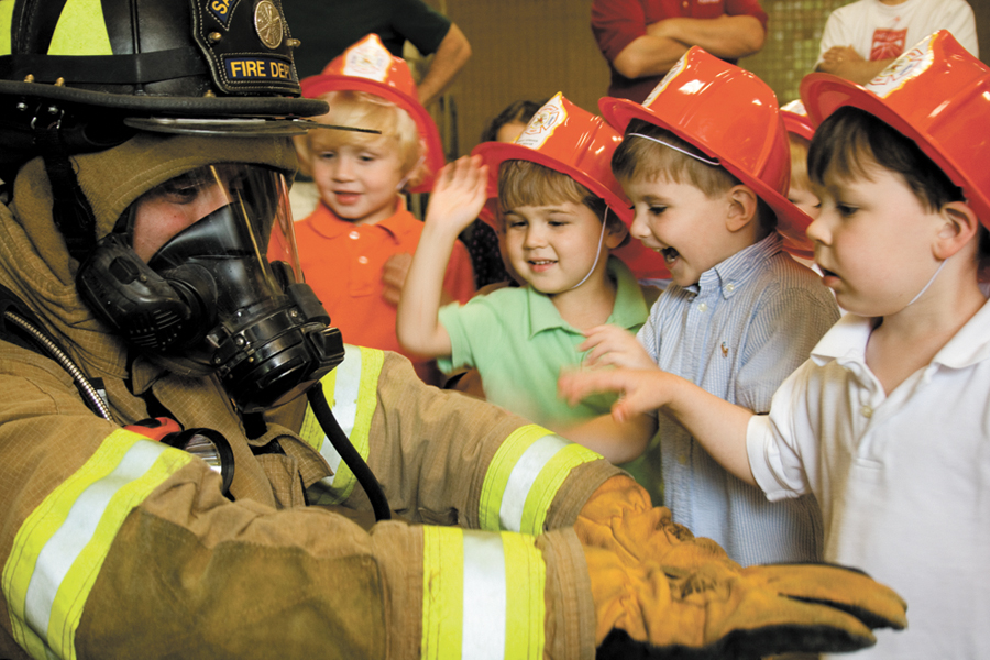 On children's days, they can see a firefighter up close and learn about fire safety.