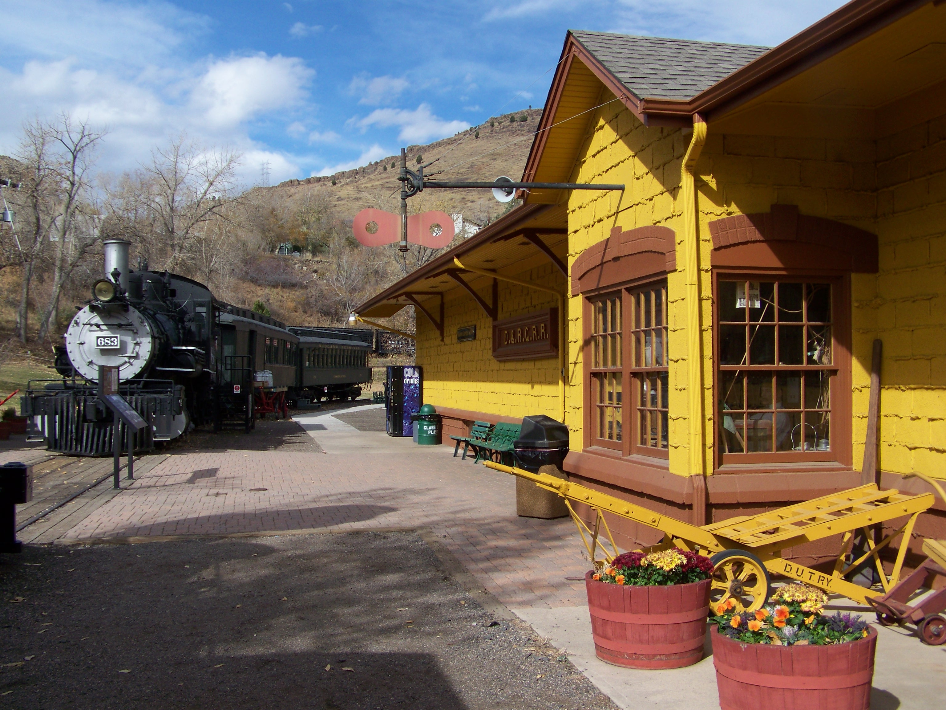 Depot building in front of the museum.