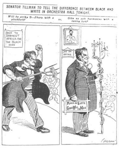 Chicago Tribune cartoon, published November 27, 1906, demonstrating the Janus-like duality that could lead Tillman to deliver a tirade somedays while remaining calm on others.