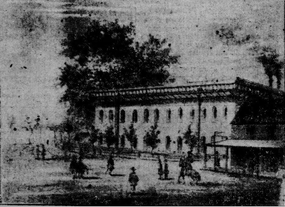 The Water Works as it originally appeared in 1854, in a lithograph reprinted in a 1906 edition of the Sacramento Union newspaper--the year it was sold to Southern Pacific Railroad. The building was demolished seven years later.