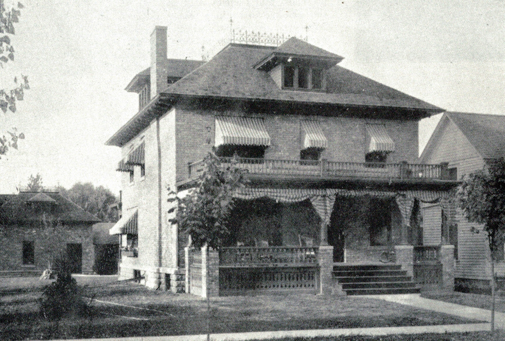 Clinton George Griffey House, west and south elevations, 1907