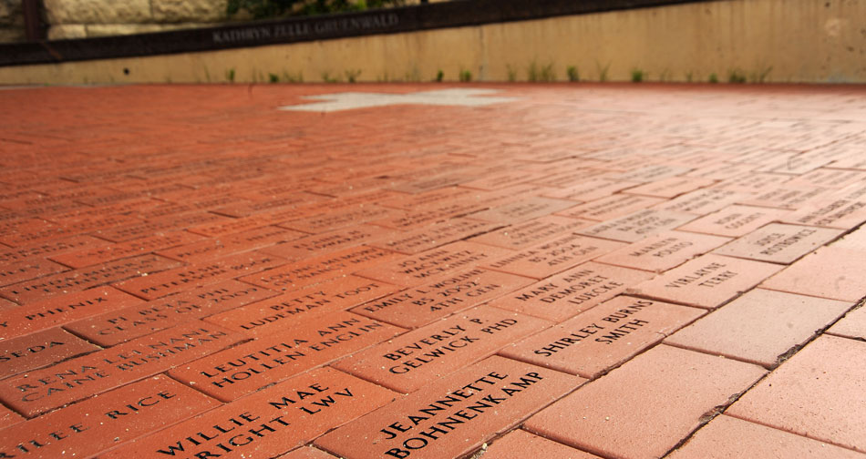"The Plaza of Heroines. ""Located in front of Catt Hall, the Plaza of Heroines contains more than 3,600 bricks with the names of women, who, as role models, made an impact on families, communities and society as mothers, teachers, wives, scientists, friends"