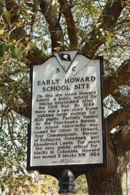 Sign marking the site of the Howard Public School in Columbia, South Carolina.