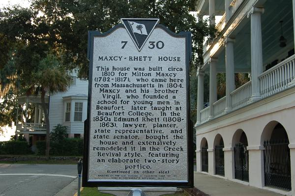 The historic marker at the site of the Maxcy-Rhett house in Beaufort, South Carolina.