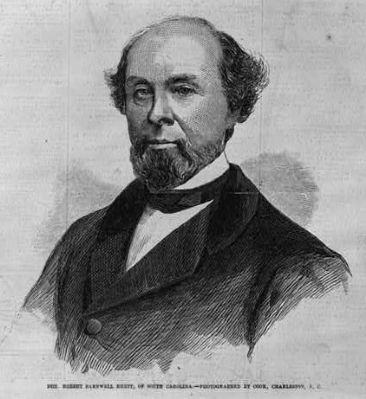 A sketch on Robert Rhett published in a local newspaper in 1861.