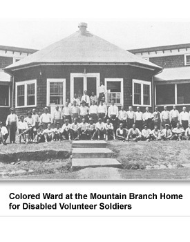 "Prior to the 1960s, the facility maintained a policy of racial segregation. This photo was taken in 1921 and shows black veterans in the ""Colored Ward"" of the hospital."