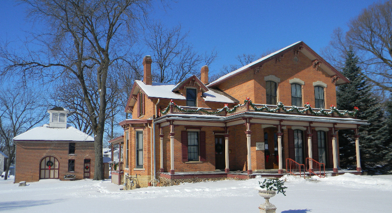 The Granger House. The carriage house is on the left.