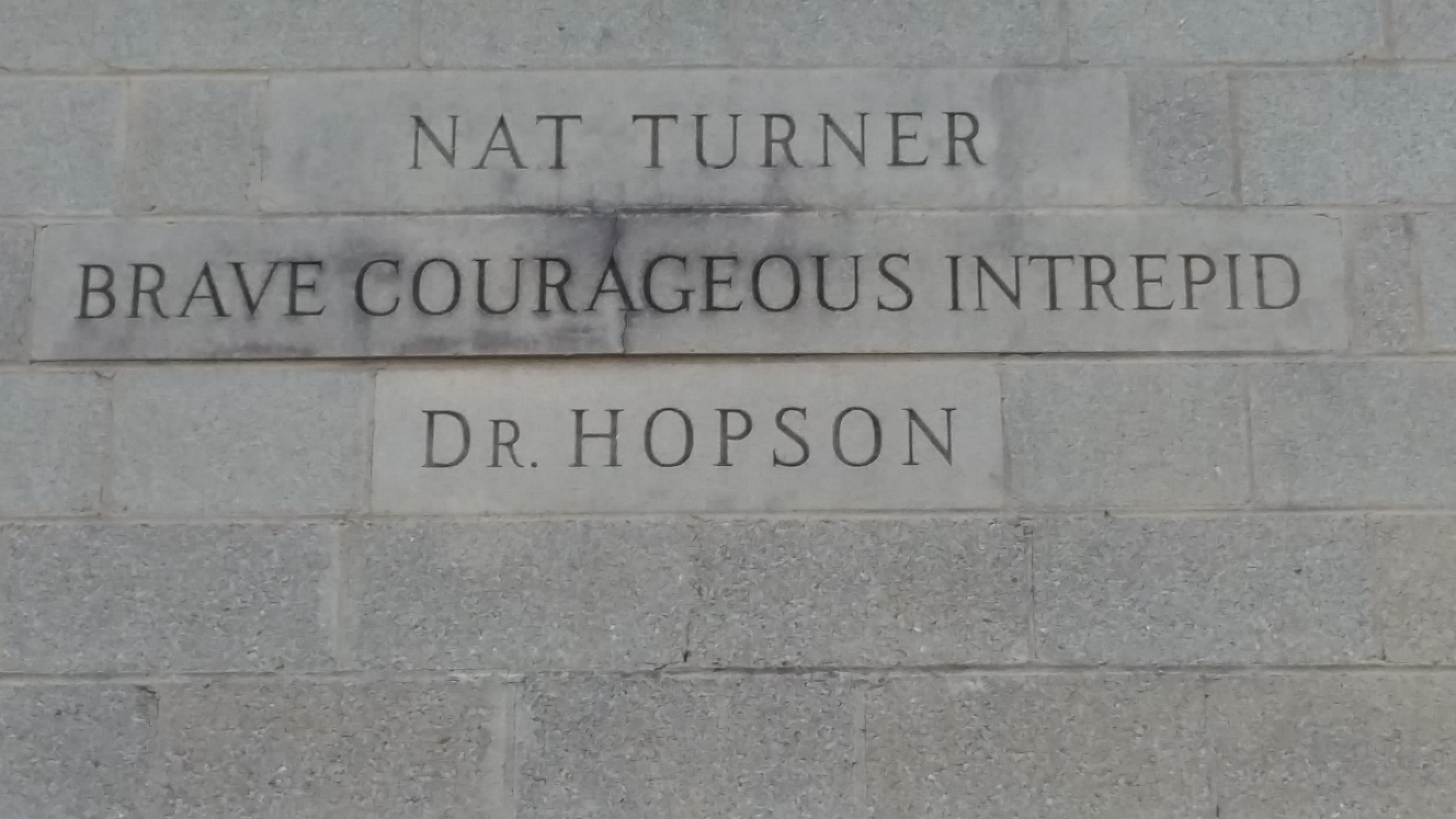 Shows the tribute to Nat Turner on McKinley Hopson's apartment building in the 1950s . This was thought to be unheard of given the fact that Nat Turner's slave revolt was one pf the bloodiest revolts in history.