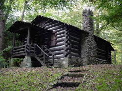 One of the log cabins constructed by the CCC at Cabwaylingo.