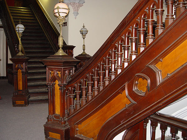 Staircase designed by Isaac Perry. See more photos at www.nysLandmarks.com/castle