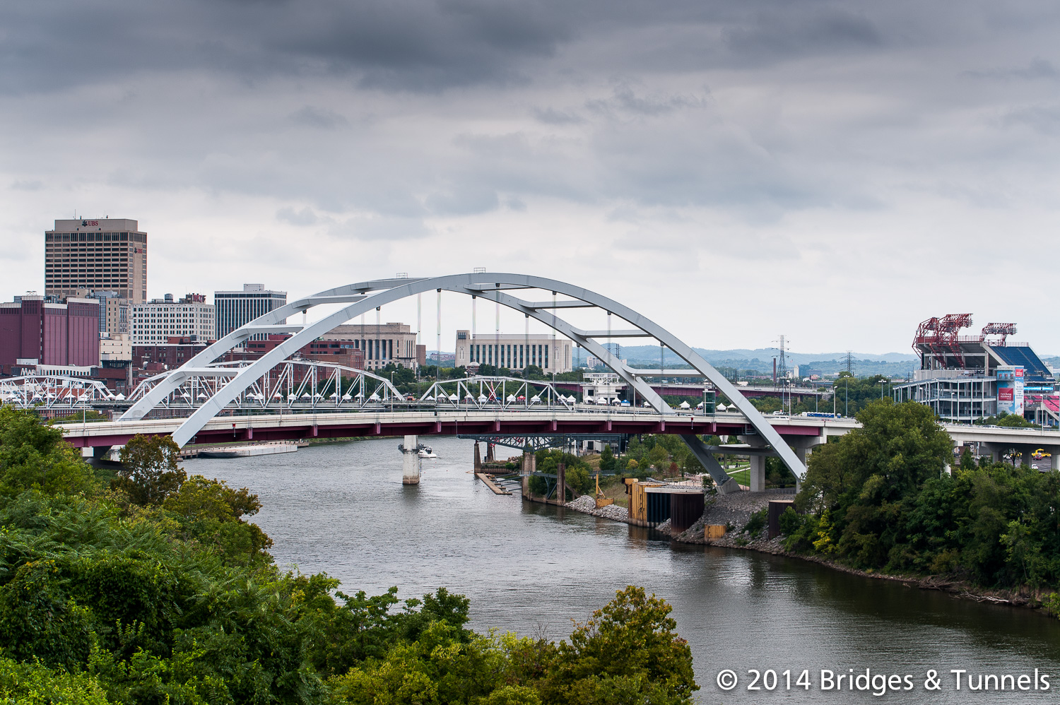 The John Seigenthaler Pedestrian Bridge by day