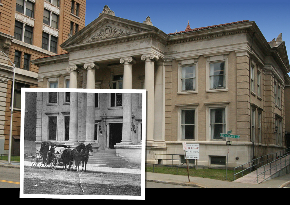 Photo composite, Carnegie Library today with ca. 1905 inset.