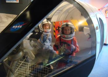Children at the Challenger Learning Center can imagine themselves as future astronauts on a simulated NASA mission.