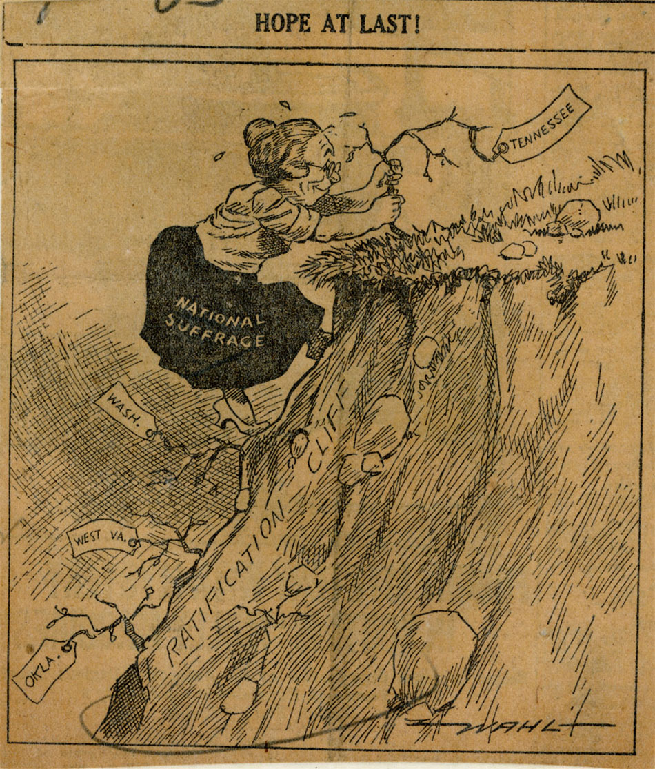 An editorial cartoon, in which the suffragist movement, represented by a woman, grabs hold of a plant, representing Tennessee, as the final hope for achieving ratification of the 19th Amendment