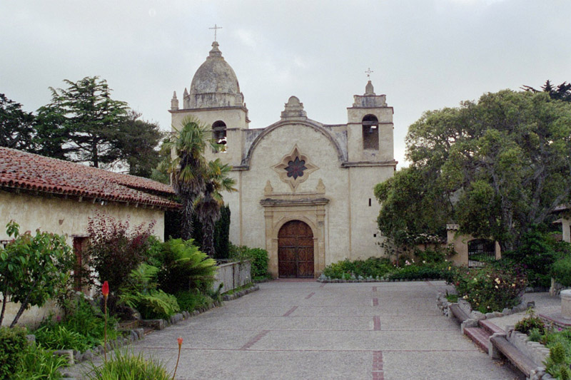 A present-day view of the Mission. The Mission's church is built from locally quarried stone, though the original roof, destroyed in the 1800s, is a historically accurate restoration from 1936.