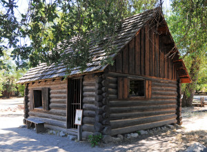 "Reconstructed ""Mormon Cabin"" at Sutter's Mill built to scale and on the site where some Mormon Battalion members stayed while at the mill"