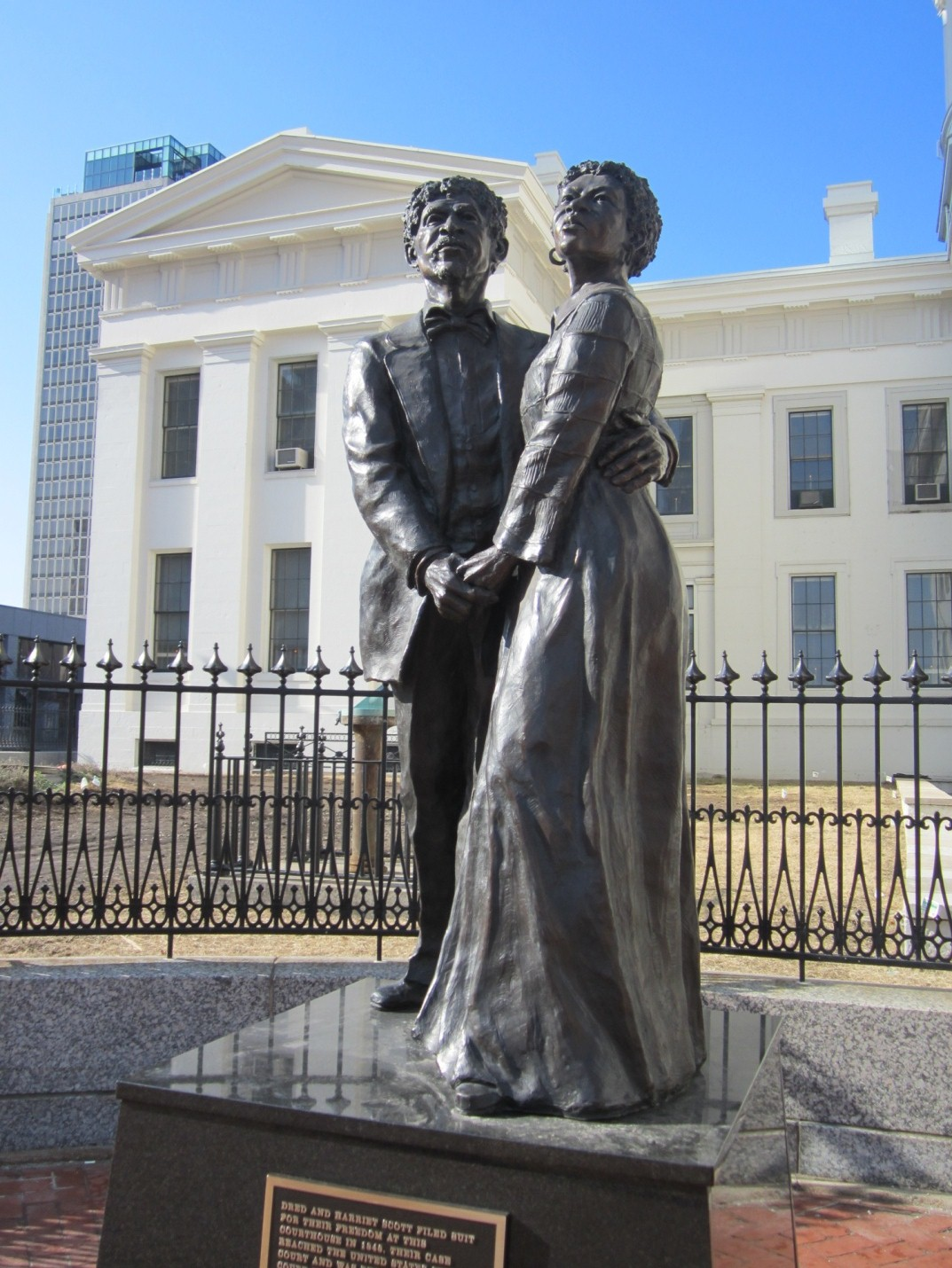 The sculptor, Harry Weber, captures the strength between the two during the eleven year ordeal of the case, as well as their time as slaves in addition to the poor result of the case itself.  The statue itself was unveiled June 8th, 2012.