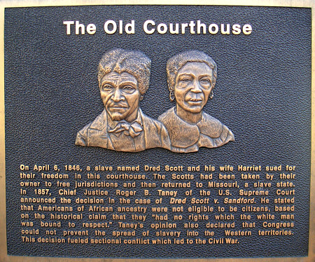 A view of a plaque dedicated to the Scott's at The Old Courthouse in St. Louis, Missouri.
