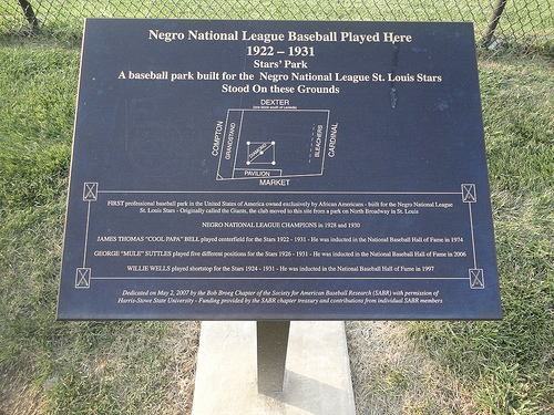 This historic marker is located at the site of the ballpark used by the St. Louis Stars and was placed by the Society of American Baseball Research.